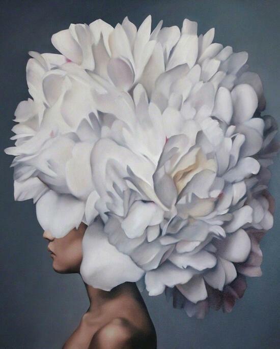 Картина по номерам 40x50 Девушка с большим белым цветком