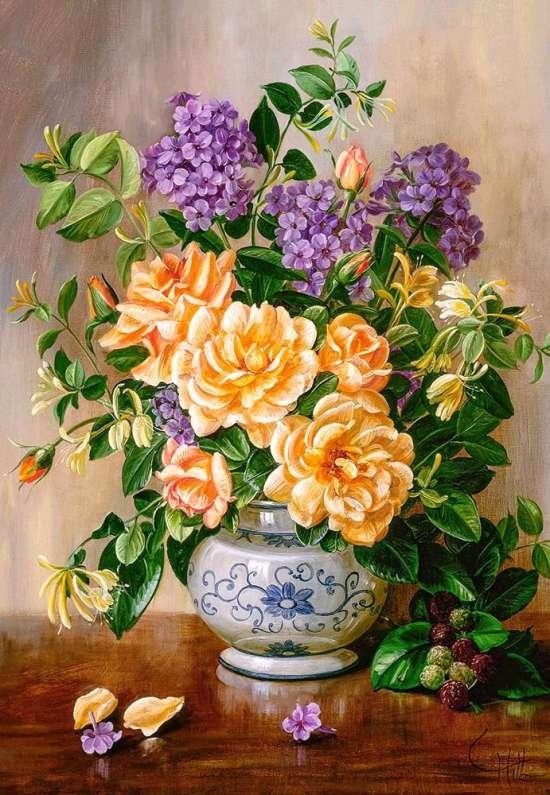 Картина по номерам 40x50 Букет с желтыми розами и гортензией