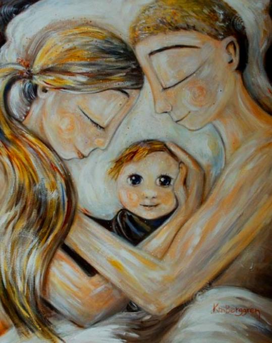 Картина по номерам 40x50 Семья со счастливым ребёнком